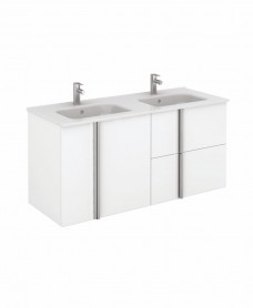Avila White Wall Hung 120 Vanity Unit and SLIM Basin - 2 Door 2 Drawer