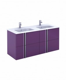 Avila Aubergine Wall Hung 120 Vanity Unit and SLIM Basin 4 drawer