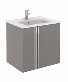 Avila Gloss Grey Wall Hung 60 Vanity Unit and SLIM Basin 2 door