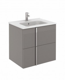 Avila Gloss Grey Wall Hung 60 Vanity Unit and SLIM Basin 2 drawer