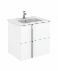 Avila White Wall Hung 60 Vanity Unit and SLIM Basin - 2 Drawer