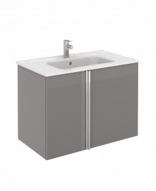 Avila Gloss Grey Wall Hung 80 Vanity Unit and SLIM Basin 2 door