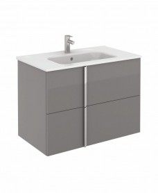 Avila Gloss Grey Wall Hung 80 Vanity Unit and SLIM Basin 2 drawer