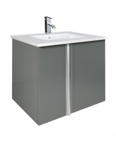 Avila Gloss Grey 60cm Vanity Unit 2 Door and Idea Basin
