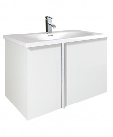 Avila White 2 Door 80cm Wall Hung Vanity Unit and Idea Basin