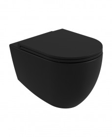 Atelier Wall Hung Rimless WC & Seat - Carbon Black