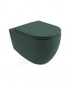 Avanti Wall Hung Rimless WC & Seat - Forest Green