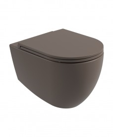 Atelier Wall Hung Rimless WC & Seat - Ground Mocha
