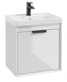 Fjord Gloss White 50cm Wall Hung Vanity Unit-Matt Black Handle