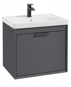 Fjord Midnight Grey Matt 60cm Wall Hung Vanity Unit-Brushed Chrome Handle