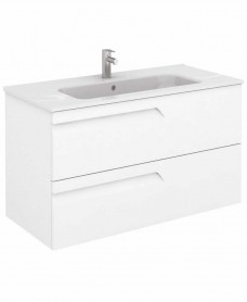 Brava 100 White Vanity Unit White and SLIM Basin