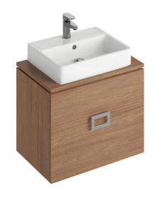 Katie Walnut 65 CounterTop Vanity Unit and Brook Basin