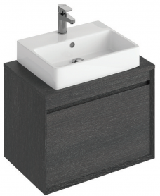 Reflex Dark Wood 65 CounterTop Vanity Unit and Brook Basin