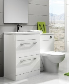 Cairo White Combo - Special Offer* - includes E100 toilet, choice of Quartz, Sutton, Horley or Poole tap and waste