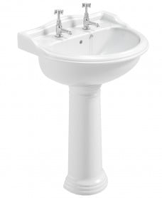 Cambridge 600 Basin with Full Pedestal - Single Tap Hole