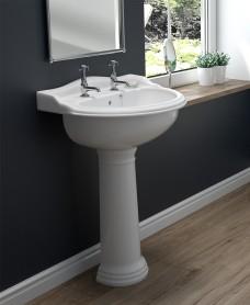 Cambridge 50cm 2TH Basin & Full Pedestal