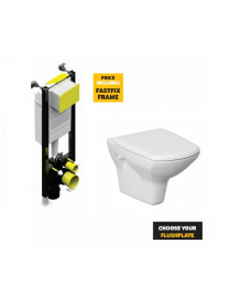 Carina Rimless Wall Hung Pan with horizontal outlet including soft close seat  with Fastfix Frame