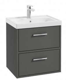 Finland Dolphin Grey Matt 50cm Wall Hung Vanity Unit - Brushed Chrome Handle