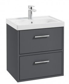 Finland Midnight Grey Matt 50cm Wall Hung Vanity Unit - Brushed Chrome Handle