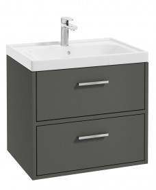 Finland Dolphin Grey Matt 60cm Wall Hung Vanity Unit - Brushed Chrome Handle