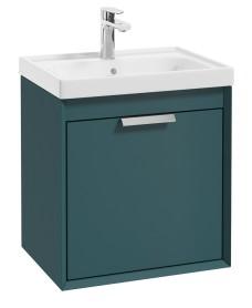 Fjord Ocean Blue Matt 50cm Wall Hung Vanity Unit-Brushed Chrome Handle