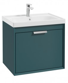Fjord Ocean Blue Matt 60cm Wall Hung Vanity Unit-Brushed Chrome Handle
