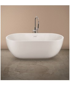 Chloe Contemporary Freestanding Bath with Tap Ledge - 1555 x 750