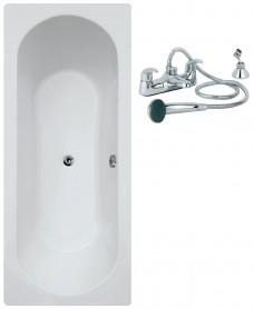 Clover 1800 x 800 Double Ended Bath - Special Offer* - Includes QUARTZ Bath Shower Mixer & Waste