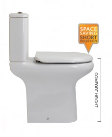 Compact Close Coupled Toilet & Soft Close Seat - Comfort Height