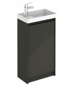 Dijon Gloss Grey 45 Floor Standing Vanity Unit and Mirror.
