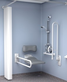 Inta Doc M Shower Pack Exposed Valve No Fixed Head, Standard Seat- White Rails
