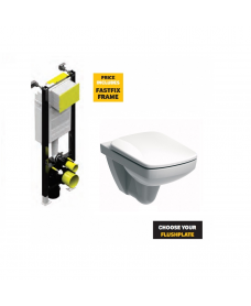 E100 Square Wall Hung Rimfree® Toilet with Soft Close Seat with Fastfix Frame
