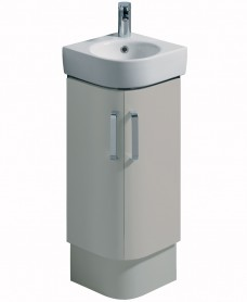E200 320 Grey Corner Vanity Unit Floor Standing