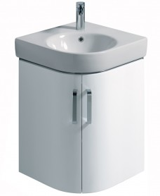 E200 500 White Corner Vanity Unit Wall Hung