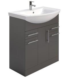 Belmont 75cm Vanity Unit & Basin Gloss Grey