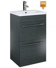 Cairo 50cm Vanity Unit 2 Drawer Grey and Basin