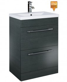 Otto Plus 60cm Vanity Unit 2 Drawer Grey and Basin