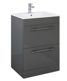 Otto Plus  Gloss Grey 60cm Floor Standing  2 Drawer Vanity Unit -D39cm
