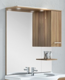 Mirrors cabinets bathroom furniture belmont 100cm walnut mirror with light pullcord mozeypictures Gallery