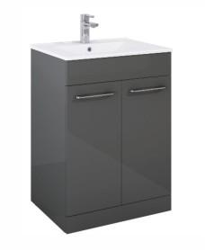 Otto Plus  Gloss Grey 60cm Floor Standing  2 Door Vanity Unit -D39cm