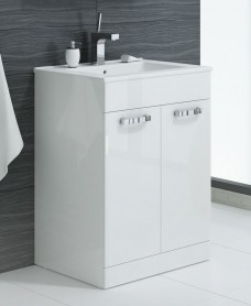 Turin 60cm 2 Door White Vanity Unit