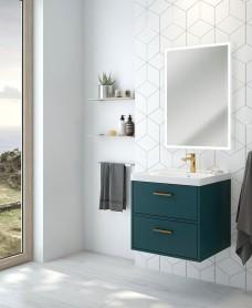 Finland Ocean Blue Matt 60cm Wall Hung Vanity Unit - Brushed Gold Handle
