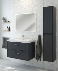 Finland Midnight Grey Matt 80cm Wall Hung Vanity Unit - Brushed Chrome Handle