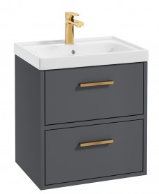 Finland Midnight Grey Matt 50cm Wall Hung Vanity Unit - Brushed Gold Handle