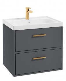 Finland Midnight Grey Matt 60cm Wall Hung Vanity Unit - Brushed Gold Handle