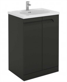 Brava 60 Gloss Grey 2 Door Floor Standing Unit & Idea Basin