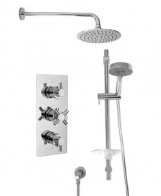 LIBRA Triple Shower Valve & Marine Slide Rail Kit & Ria Shower Head