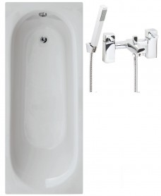 Lotus 1700 x 700 Single Ended Bath - Special Offer* - Includes QUARTZ Bath Shower Mixer & Waste