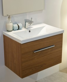 Nova Walnut  Slimline 50cm Wall Hung Vanity Unit ** 50% Off While Stocks Last