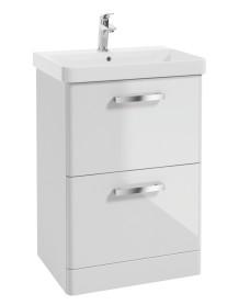 Odeon Gloss White 600mm 2 Drawer Vanity Unit & Basin
